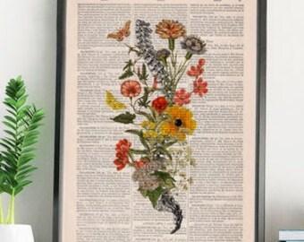 Christmas Gift, Moths and the Spine Flower Art - Anatomy Illustration  - Anatomy Poster - Anatomical Spine - Spine Wall Print - SKA260