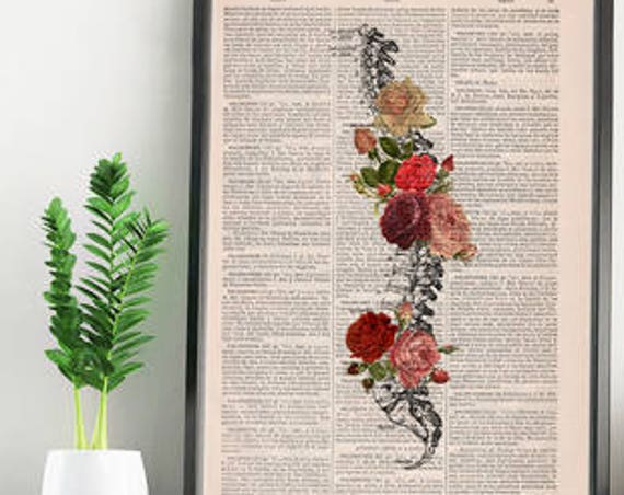 Springtime Spine Decorative Art, Flowers on Skull ,Nature Inspired Print, Decorative Art, Wall hanging SKA137