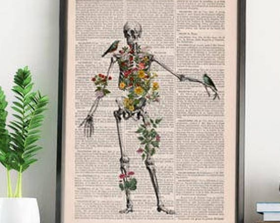 Human Skeleton full of naure Doctor student gift Anatomy Print Anatomical decoration science & anatomy art, Biology SKA142