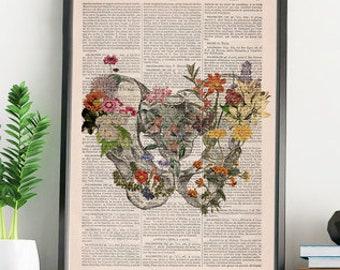 Gift for women, Xmas Gift,  Flowery Pelvis Art - Flower Anatomy Print - Human - Chiropractor Art -  Wall Art - Anatomical Art Print - SKA242