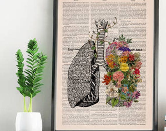 Christmas gifts for her Springtime breathe, Decorative Art, Lungs with Flowers,Nature Inspired Print, Wall hanging print Lungs  SKA139
