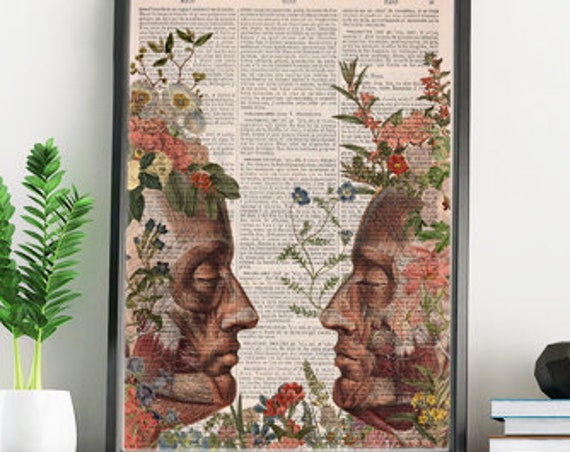 We are Nature collage Printed on Vintage Dictionary Book page. art print,Wall decor art, Anatomy decor SKA145