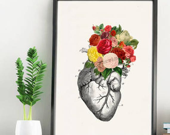 Springtime Roses Heart, Anatomical art, Anatomy art, Wall art, Wall decor, Gift for Doctor, Medical art, Science art, Wholesale,  SKA135WA4
