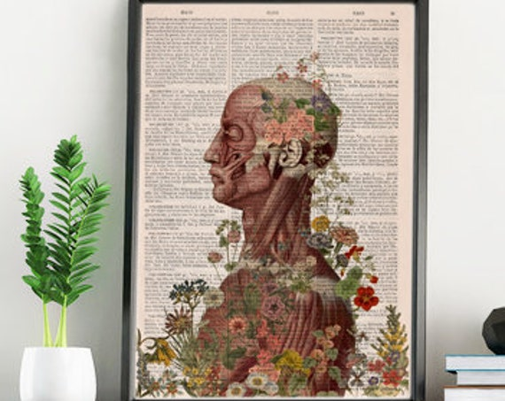 Nature is on me collage Printed on Vintage Dictionary Book page. art print,Wall decor art, Anatomy  SKA144