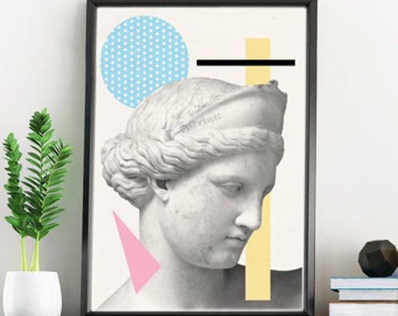 Greek head Statue. Classical art, Modern Greek art, A4 Print Geometrical wall decor-Art student gift- Revised classical art prints SKA227WA4