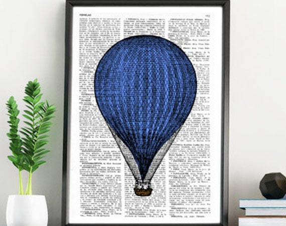 Big Blue Balloon Vintage Book Page Print the best choice for Christmas gifts  TVH078b