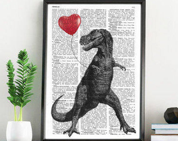 T Rex with a heart shaped red ballon Print on Vintage Dictionary pages perfect gifts for him ANI213