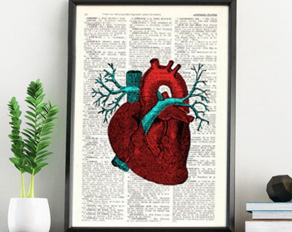 Human Red Heart anatomy art printed on vintage book page great for Christmas gifts SKA057b