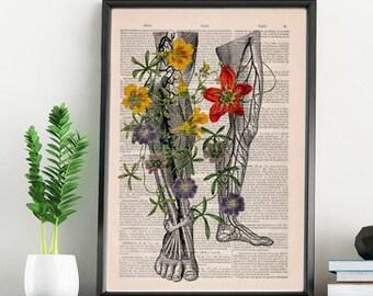 Gift for her, Wall art print Human anatomy art, Wild flowers on my legs .Art  Print  wall art wall decor Wall Hanging poster SKA096