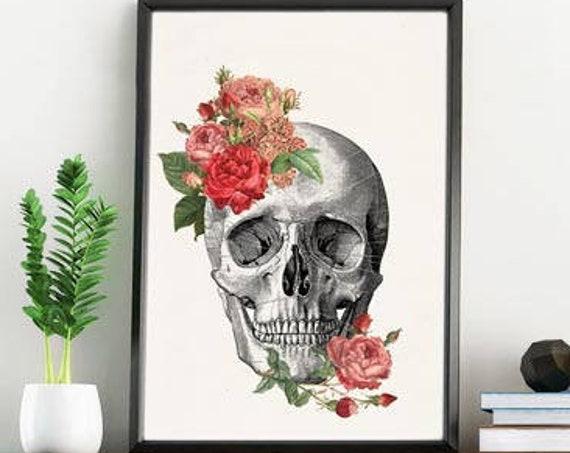 Springtime Roses Anatomy skull wall art  SKA134WA4