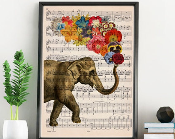 Elephant with flowers on music sheet Print perfect for gifts  ANI091MSL