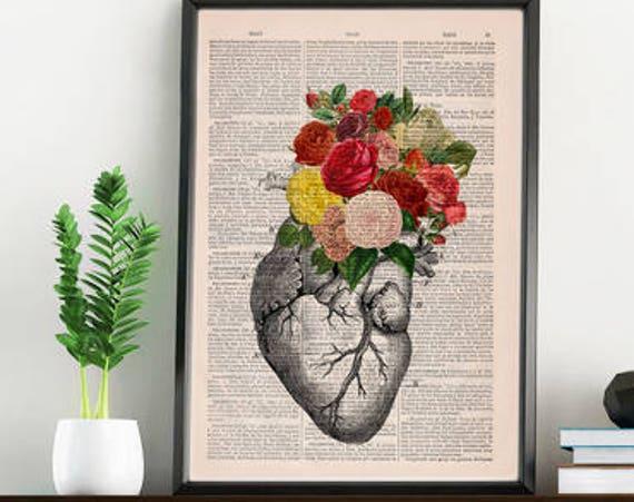 Springtime Heart Decorative Art, Flowers on Skull ,Nature Inspired Print  Wall hanging Skull print, Art   SKA135