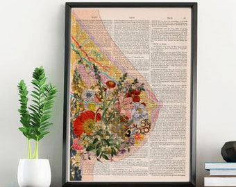 Breastfeeding Art - Feminist Art - Breast Art - Baby Shower Gift - Motherhood Art - Medical Art Print - Botanical Anatomy Print -  SKA239