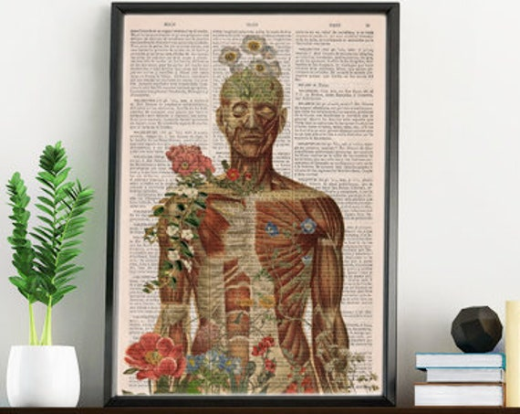 Christmas gifts for her Nature is  all around collage Printed on Vintage Dictionary Book page. art print,Wall decor art, Anatomy  SKA143