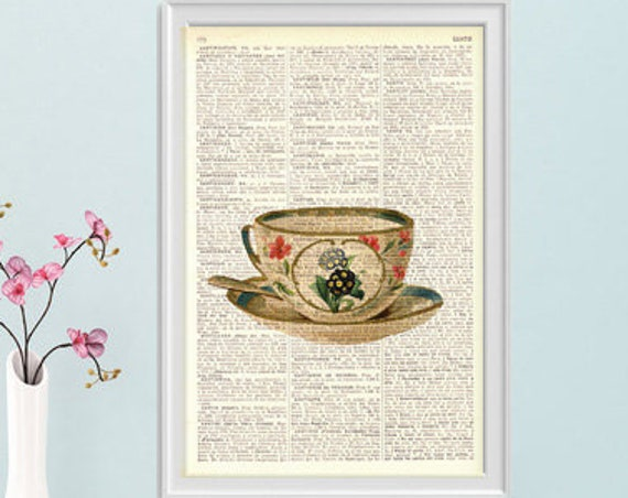 Lovely Teacup Dictionary art print on dictionary book, Wall hanging Kitchen decor, Tea time print, Wall art, Wall decor, Home decor,  TVH146