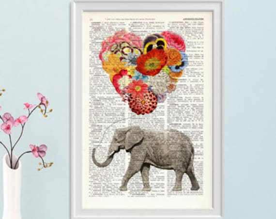 Elephant with a heart shaped flowery balloon of Flowers Nursery art perfect for gifts  ANI102b
