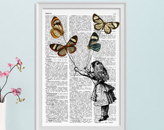 Alice in wonderland wall art Alice and the flying butterflies II Alice in Wonderland Collage Dictionary print ALW035