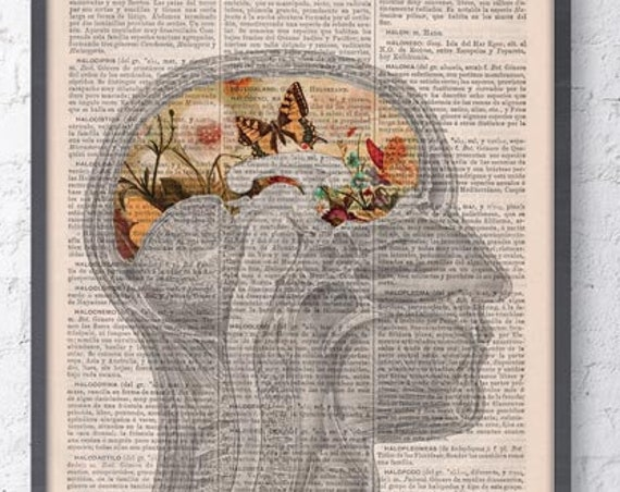 Butterflies Brain collage Printed on Dictionary Book page. Wall decor art, Flower and butterfly print SKA162