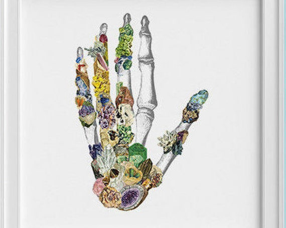 Minerals Hand Human anatomy Print, wall art, Hand science student gift Mineral art print, Medicine student gift SKA129SQ1