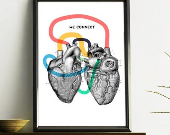 We connect romantic Love Anatomical Wall art SKA160WA4