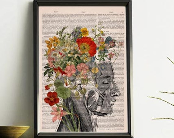 Christmas gifts for her Flowery Hair collage Printed on Dictionary Book page. Anatomy decor, Flower and butterflies print, SKA161