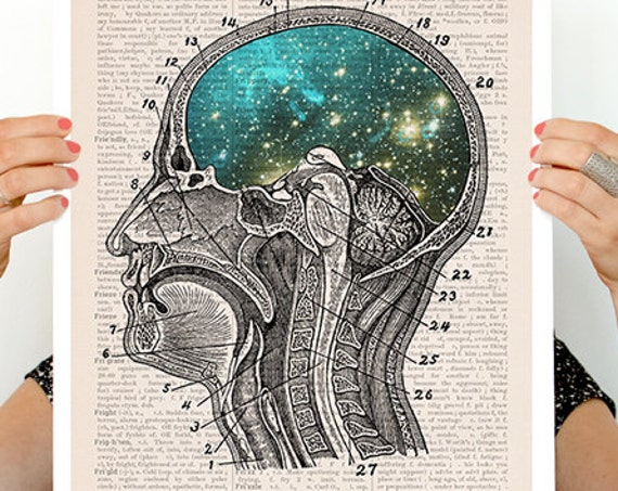 Cosmic Brain, anatomy art, anatomy Giclee poster, brain art, brain, wall art, wal decor, poster, science, medical art, galaxy art, SKA112PA3