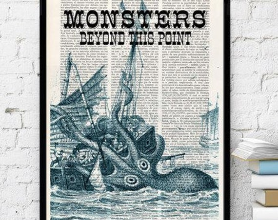 Dictionary art print Monster Kraken sign Octopus Print Sea monster sign Octopus home decor Kraken SEA096