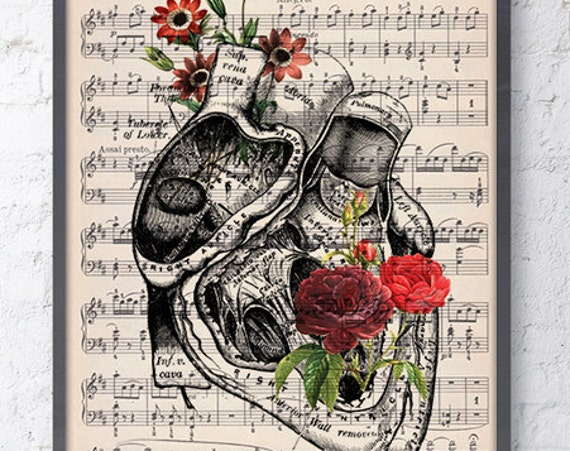 Heart with flowers over music sheet Love gift, first aniversary gift, Music student Girlfriend gift, SKA080MSL