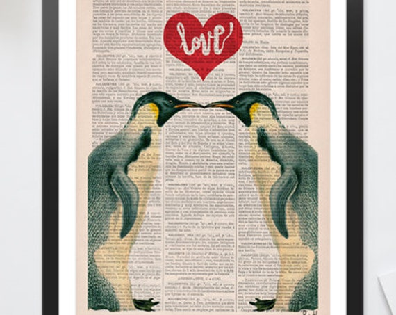 Penguins in love, Penguins, Wall art, Wall decor,   Vintage Book sheet, Nursery art, Prints, Wholesale  ANI015