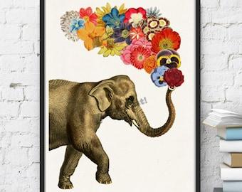 Wall art print Animal art print. Elephant with Flowers print. Nursery Wall decor- Elephant art- Flowers wall art- Spring decor art ANI091WA4