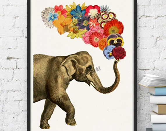 Elephant with Flowers print ANI091WA4