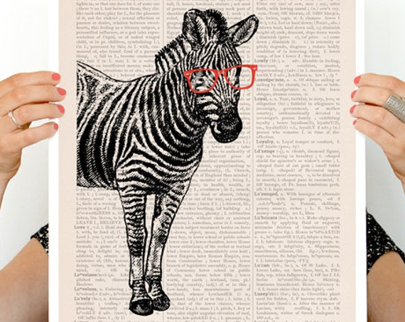Zebra with red glasses, Geek Zebra poster, Eco friendly wall art, Wall decor, Wall art, Zebra poster, ANI003PA3