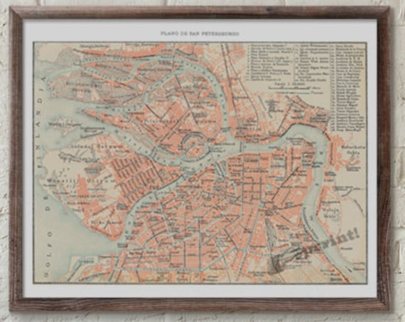 Christmas gifts for mom Sant Petersburg old city map, vintage poster, Wall art, Vintage city map poster,  city map poster TVH232WA3