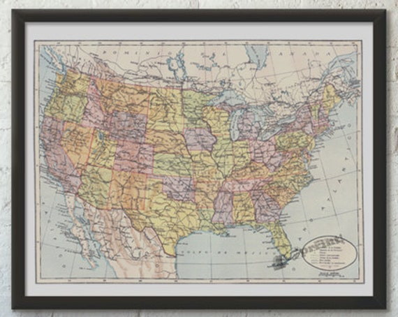 United States of America map, Vintage poster, USA poster, American art, Vintage map Wall art, Wall decor TVH228WA3