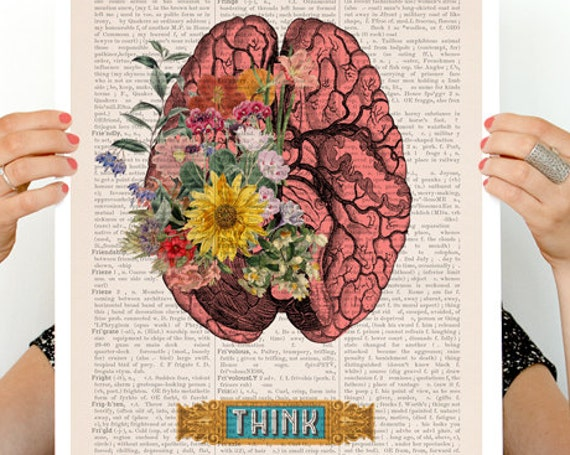 Think, Colorful Brain Poster, anatomy art, anatomy  poster, brain art, brain, anatomy, wall art,   SKA131PA3