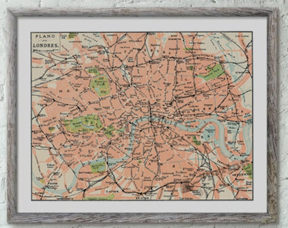Christmas gifts for mom London city map vintage inspired poster ,London map poster, Wall art, Wall decor, Vintage city map TVH236WA3
