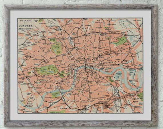 London city map vintage inspired poster ,London map poster, Wall art, Wall decor, Vintage city map, Giclee city map poster, Poster TVH236WA3