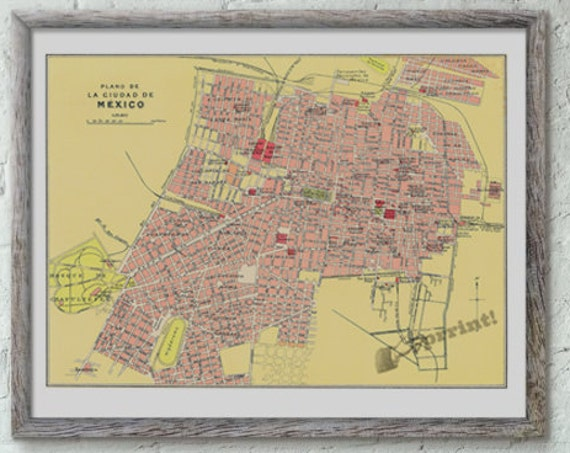 for mom Mexico city old map, Vintage poster ,Old City map poster, Wall art, Wall decor, Vintage city  art  TVH233WA3