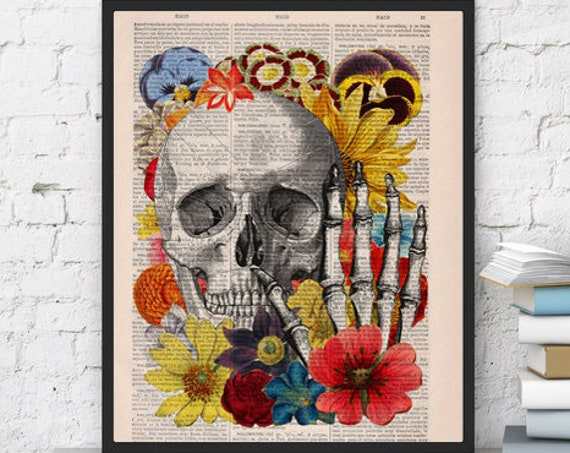 Skull with flowers collage art perfect for Christmas gifts SKA081bX