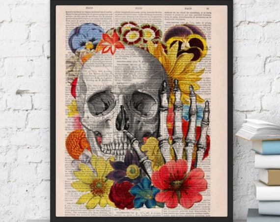 Skull with flowers collage art ,Wall decor Skull flower collage Print on Vintage Book,giclee print , Skull art SKA081bX