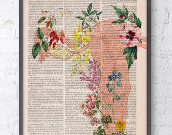 Human Uterus with full of flowers wall decor art printed on dictionary page great for gifts  SKA111b
