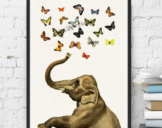 Elephant in love counting butterflies print ANI088WA4