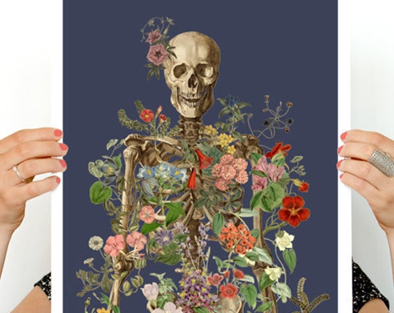Skeleton covered with flowers at the deep night,  Anatomy art with flowers, Wall decor, Wall art in blue, Skeleton Poster art, SKA171WA3