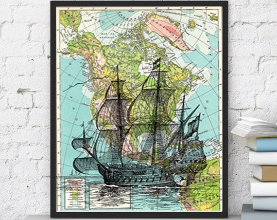 Old Ship on Vintage Map Print the best choice for Christmas gifts SEA113b