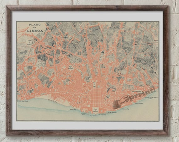 Lisboa old city map, Vintage City map poster, Aall art, Vintage map poster, Giclee city map poster, Wall art, Wall decor  TVH234WA3