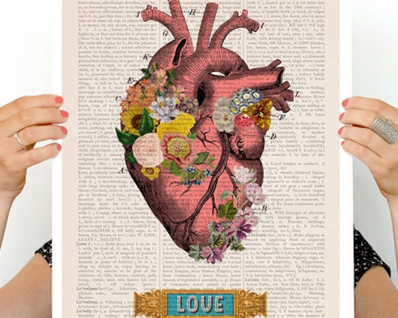 Christmas gifts for mom Love Colorful Heart Poster,  anatomy art, wall art, poster, anatomy, anatomy print, medical art SKA132PA3