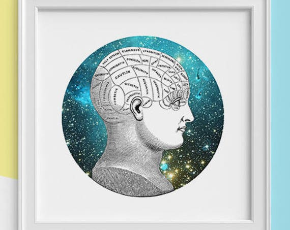 Cosmic thinking Print wall art Human anatomy print Science student gift Cosmic art print Universe and galaxy print SKA226SQ1
