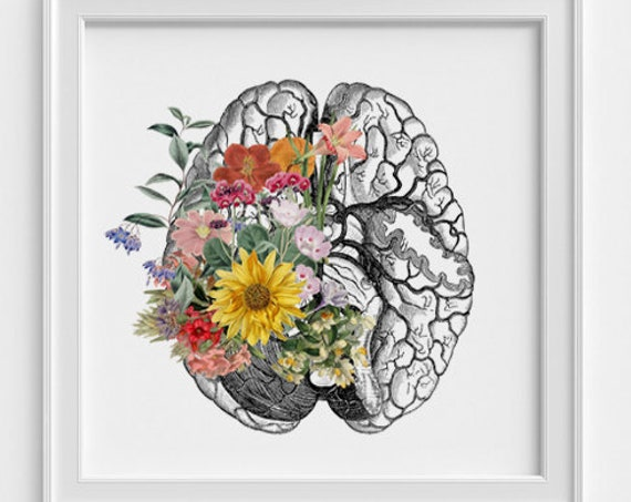 Spring time Brain Print, wall art Human anatomy print, Science student gift. Human brain art print Anatomy and flowers SKA140SQ1