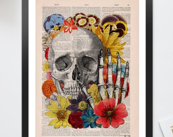 Skull with flowers collage art perfect for gifts  SKA081b