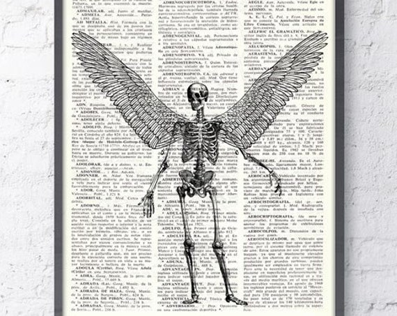 Skeleton Angel Print on Vintage Book page  Recycled book print, skeleton art, Goth art print SKA158